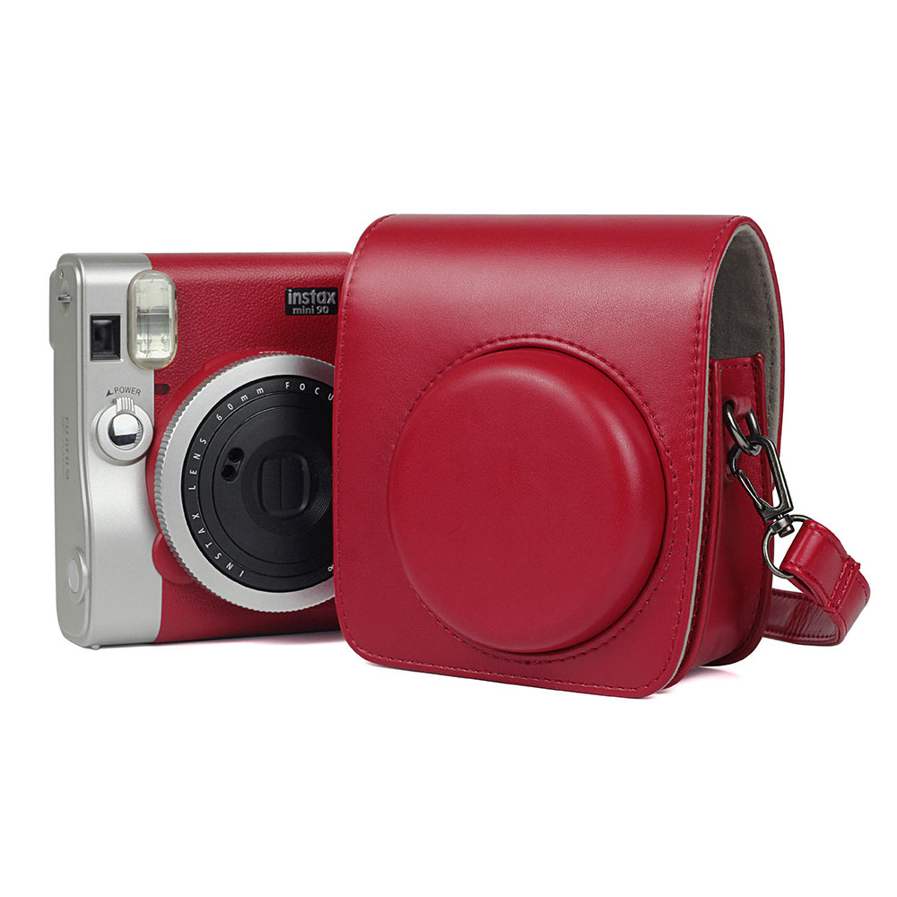 FUJIFILM Instax Mini 90 Neo Classic Camera Case PU Leather Shoulder Strap Camera Bag Crystal PVC Protective Carry Cover