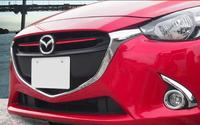 2pcs Red ABS Chrome Front Grill Cover Trims Strip Accessories For Mazda 3 BN Axela M3 2017