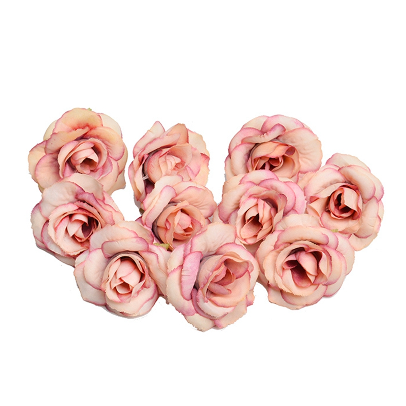 New 10pcs artificial flower 4cm silk rose flower head wedding party home decoration DIY wreath scrapbook gift box craft(China)