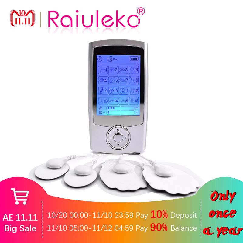 16 Mode Dual Electric Low Frequency Tens Unit Lower Back Pain Relief Digital Screen Tens Machine Muscle Stimulator Massager new dual tens machine digital low frequency therapeutic electrical muscle stimulator tens massager with lcd backlight screen