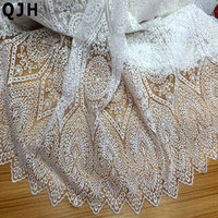 Hot Sale Soft Organza tulle Lace Fabric Fashion White Milk Silk France Swiss voile Embroidered For Wedding Dress Free Shipping