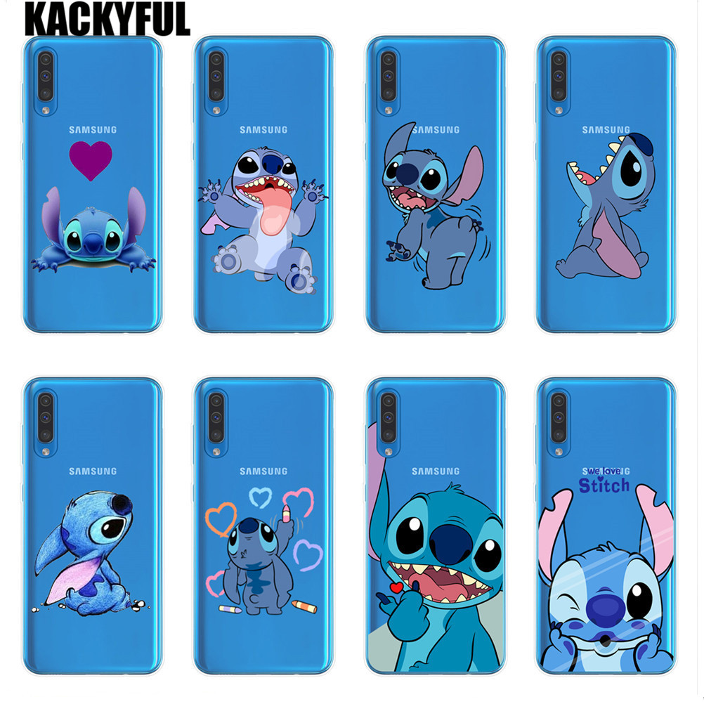 cartoon Stitch Phone Cases For <font><b>Coque</b></font> <font><b>Samsung</b></font> A10 A20 A30 A40 A50 A60 <font><b>A70</b></font> A80 <font><b>2019</b></font> A6 A8 Plus A7 A9 2018 Silicone Soft Back Cover image