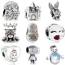 Vintage Punk Cute Animal Owl Robot Castle Small Baby Girl Enamel Pendant Beads Fit Pandora Charm DIY Bracelets Making Jewelry(China)