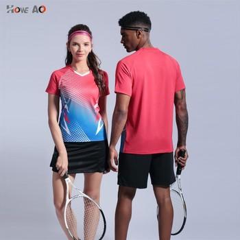 HOWE AO Top Quality szybkoschnąca oddychająca koszulka do badmintona kobiety mężczyźni tenis stołowy profesjonalne drużynowe gry do biegania na trening t-shirty tanie i dobre opinie Włókno bambusowe Krótki YQX 1037 Koszule Pasuje prawda na wymiar weź swój normalny rozmiar