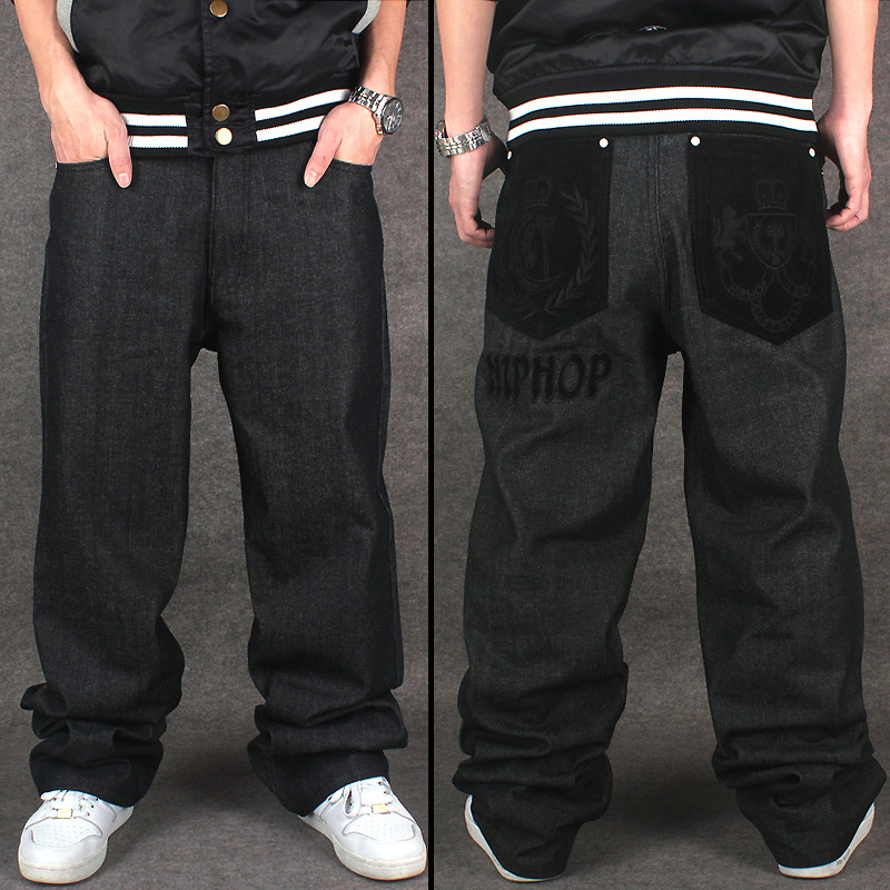 big size men hip hop jeans men baggy jeans denim hip hop