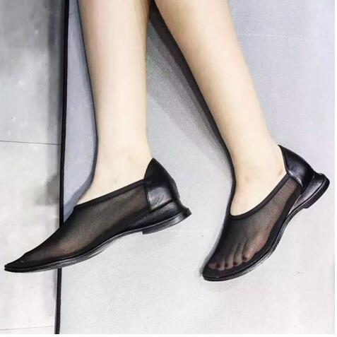 ФОТО 2016 New Breathable Mesh Shoes Woman Leather Wedge Sandals Deep Loafer Comfortable Lazy Shoes Summer Walking Flat Shoes