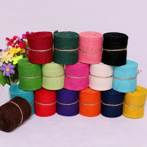Cheap 2M width 6cm Colorful Natural Jute Burlap Ribbon Jute Fabric Roll Hessian Ribbon Trims Tape Rustic DIY Wedding Par AA8043(China)
