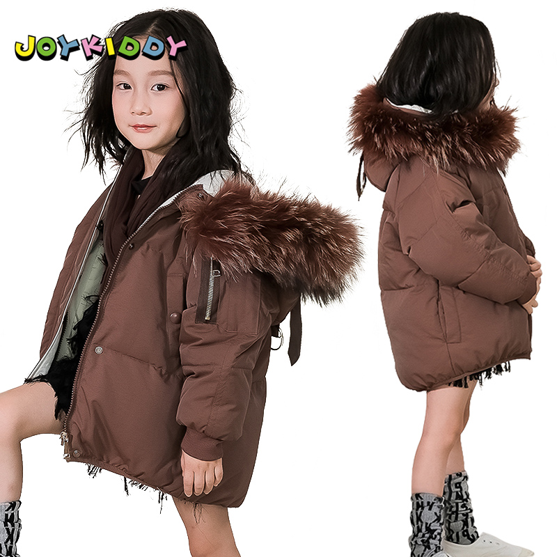 Winter Warm Down Jacket for Children 90% Duck Down Coat Girls Boys Large Raccoon Fur Collar Hooded Parka Jacket Casual Outerwear les enfantsfashion girls winter thick down jacket sleeveless hooded warm children outerwear coat casual hooded down jacket