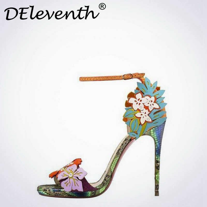 DEleventh 2019 nuevo verano flor dulce patrón de piel de serpiente punta estrecha Tacones altos Cruz Correa V-string combinación Tacones