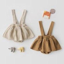 Детская юбка на подтяжках для маленьких девочек повседневная юбка на лямках для маленьких девочек однотонная Милая летняя одежда