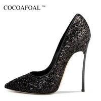 Cocoafoal امرأة الحمراء عالية الكعب أحذية زائد الحجم 33-43 مثير الذهبي الأرجواني خنجر الزفاف حزب بلينغ الفضة السوداء 12 سنتيمتر مضخات