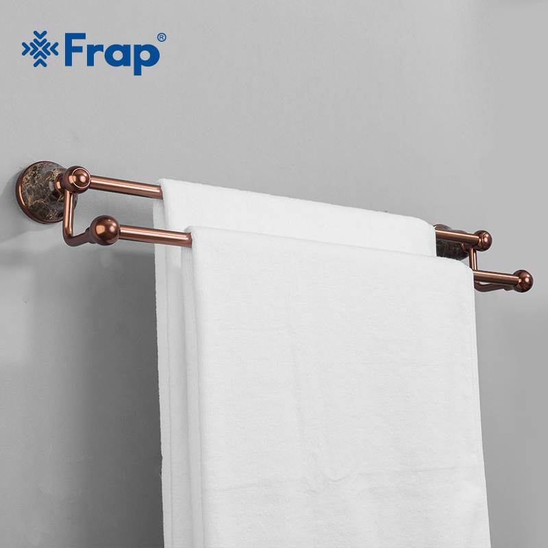 Frap Space Aluminum Double Towel Bar Rose Gold Towel Rack In The Bathroom Wall Mounted Towel Holder Bathroom Accessories Y18086 aluminum wall mounted square antique brass bath towel rack active bathroom towel holder double towel shelf bathroom accessories
