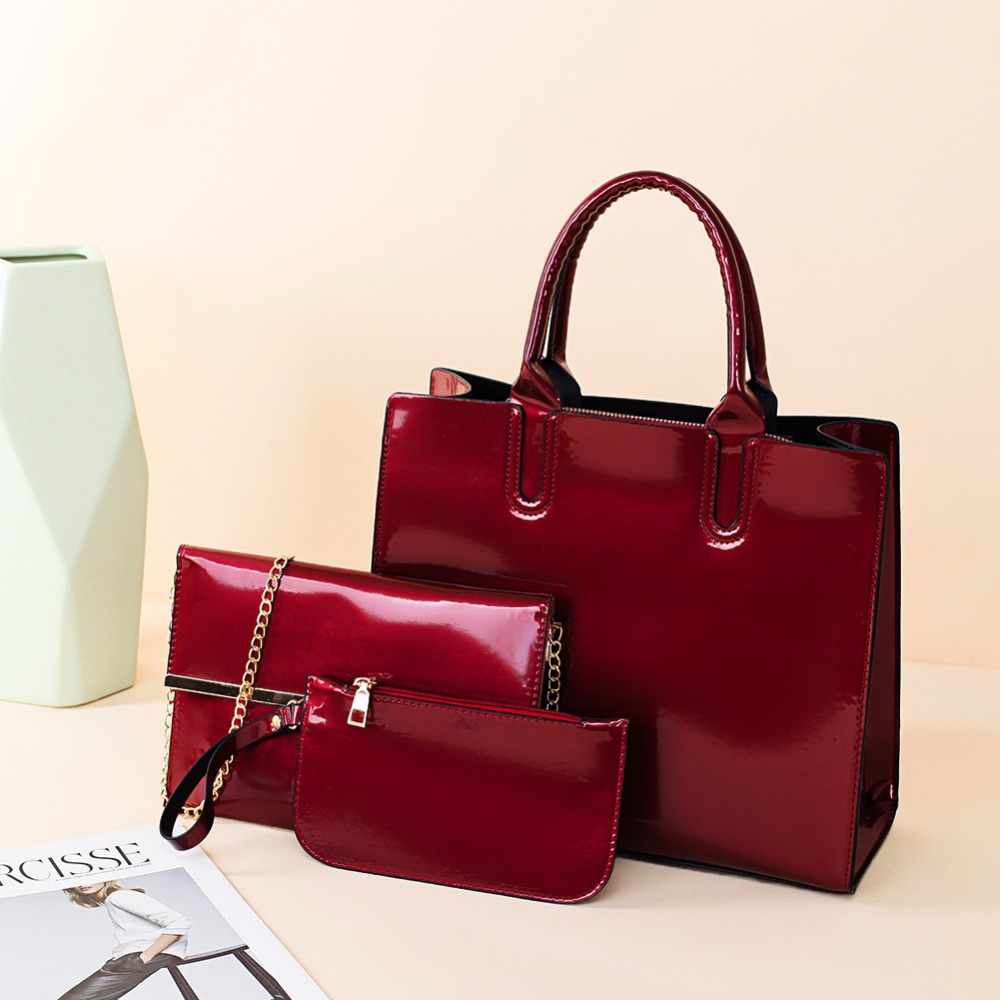 3pcs/set Patent Leather Women Handbag Luxury Shoulder Evening Bags  Ladiea Crossbody Messenger Bag Fashion Female Clutch Tote