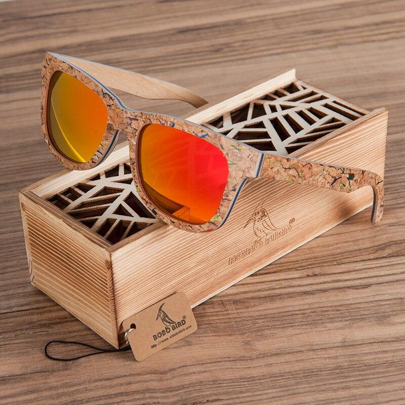 BOBO BIRD AG021 marque Design Unique en bois de liège lunettes de soleil hommes femmes de luxe Variation lunettes rétro lunettes de soleil polarisées comme cadeau