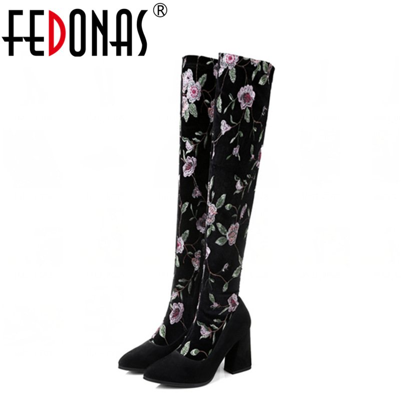 FEDONAS Embroider Women Over Knee High Autumn Winter Warm Snow Boots Fashion Genuine Leather Shoes Woman Square Heels Boots fashion autumn and winter style flock leather women fringe flat heels long boots woman keep warm tassel knee high boots