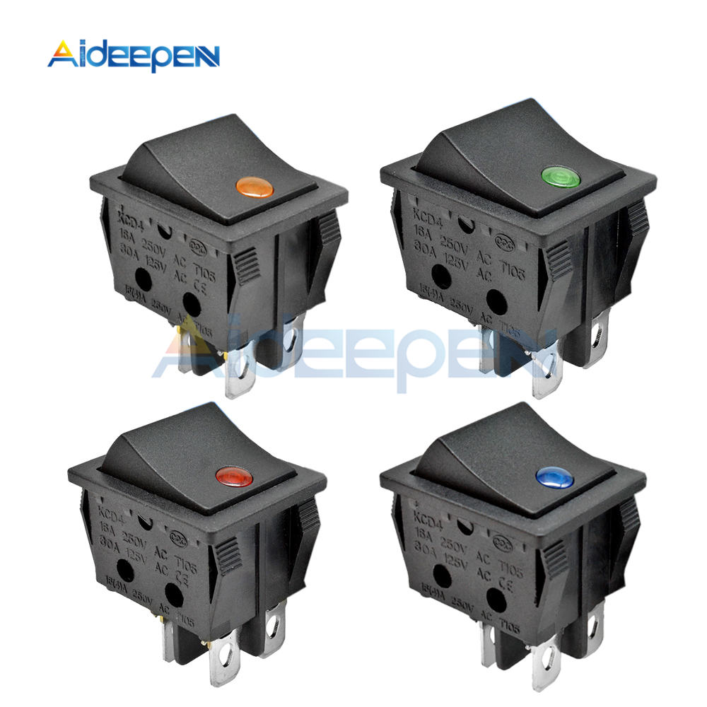 KCD4 Rocker Switch ON-OFF <font><b>2</b></font> Position <font><b>4</b></font> <font><b>Pins</b></font> Electrical equipment With Light Power Switch 16A 250VAC/ 30A 125VAC 25*31MM image