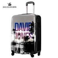 DAVIDJONES ход колеса Чемодан Сумка тележка spinner Большой Женщины Прокат багаж сумка девушка Винтаж костюм случае коробка 24 дюймов trunk