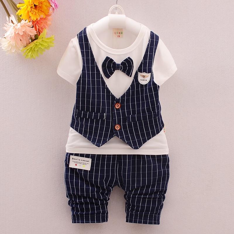 96bcf1a43d62d 2016 Kids Clothes Boys Striped Gentleman Fake 2Pcs Shirt Shorts Set Little  Baby Boys Suits Toddler Boy Clothes Boys Clothing Set