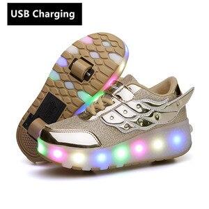 Image 3 - หนึ่ง/สองล้อUSBชาร์จรองเท้าผ้าใบLED Light Rollerรองเท้าสเก็ตสำหรับเด็กLEDรองเท้าเด็กผู้หญิงรองเท้ารองเท้าlight Up Unisex