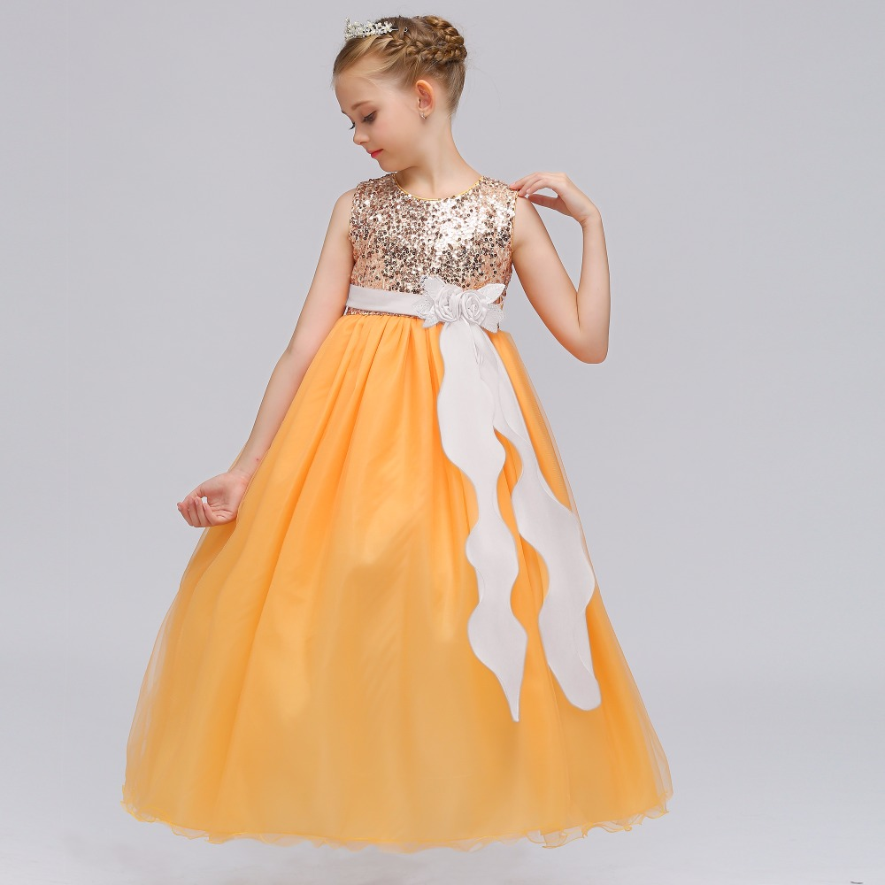 Wholesale Elegant Shinning Sequins Children Flower Girls Dress With Flower Tassel Appliques Girls Party Long Dress LP-72