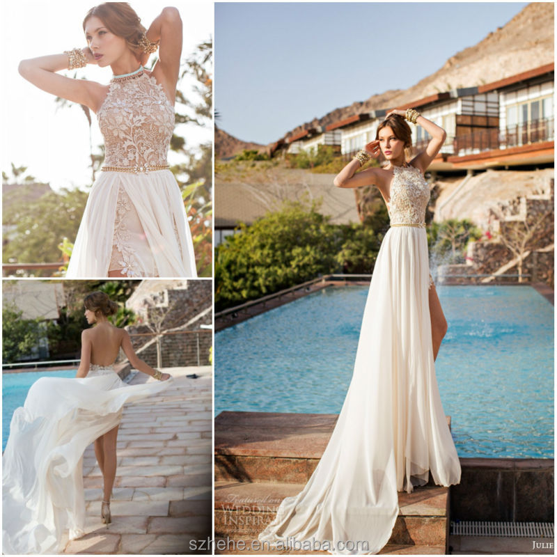 Us 178 0 New Arrival Cw2224 Fashionable 2014 Summer Casual Backless Halter Top Chiffon Sexy Beach Wedding Dresses In Wedding Dresses From Weddings