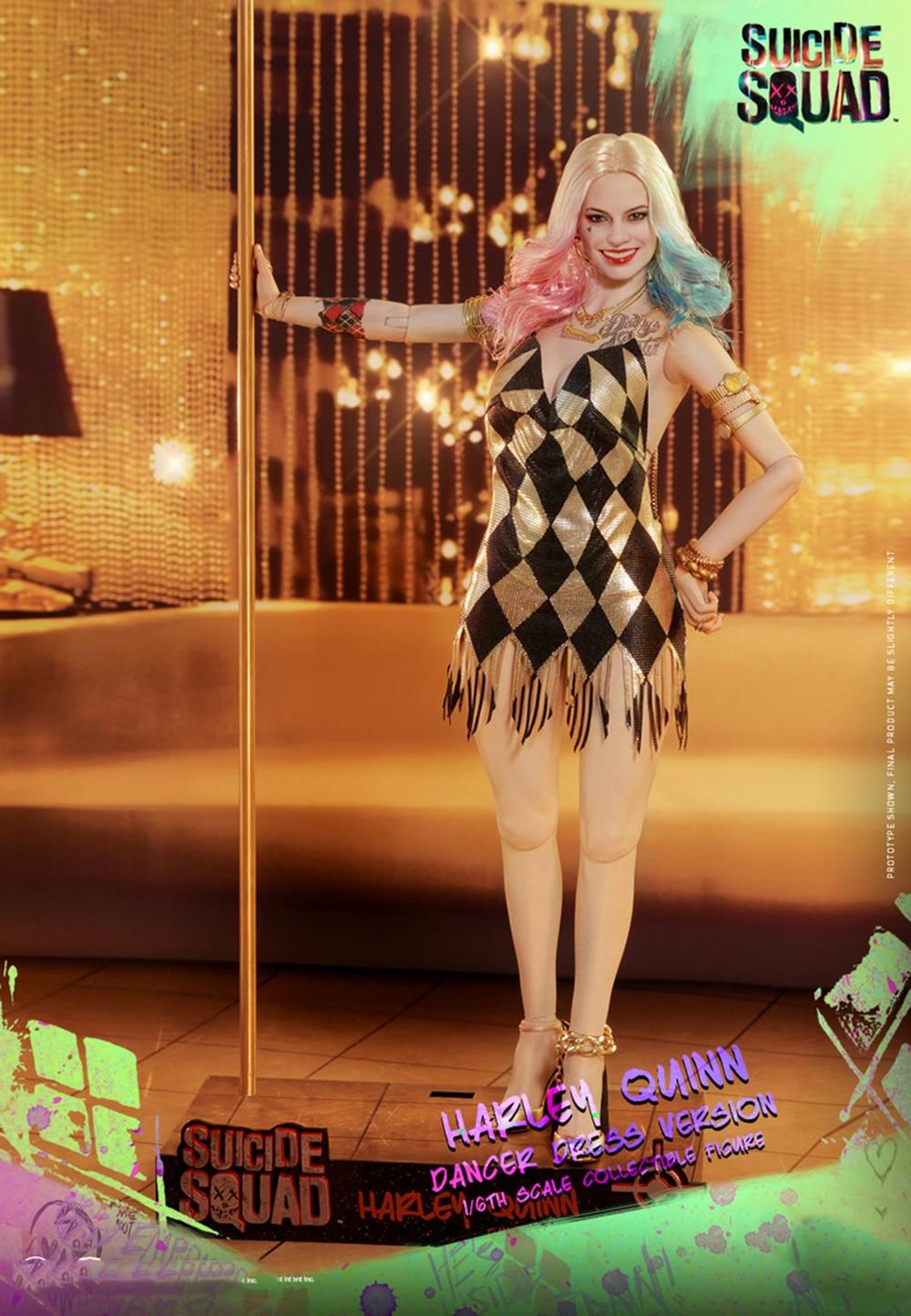 Oyuncaklar ve Hobi Ürünleri'ten Aksiyon ve Oyuncak Figürleri'de 1/6 İntihar Kadro Harley Quinn şekil dansçı elbise sürüm joker kız Margot Robbie Figürü Oyuncak Noel yeni yıl hediye'da  Grup 1