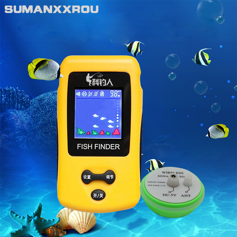 Outlife Smart Portable Fish Finder LCD Display with 100m Wireless Sonar Sensor Echo Sounder Fishfinder for Lake Sea Fishing portable fish finder sonar sounder alarm transducer fishfinder 0 7 100m fishing echo sounder with battery with english display
