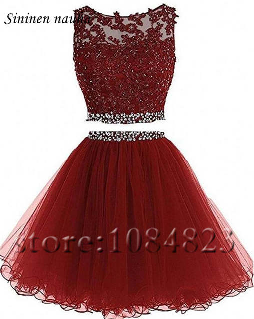 2 Piece Short Prom Party Dress Homecoming Dresses Juniors A Line Tulle  Appliques Beaded Plus Size 7dc81ff83d52