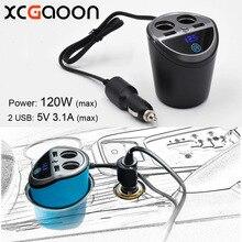 XCGaoon 2 Soquetes Maneira Com 2 USB Carro de Multi Funcional Isqueiro Splitter Power Adapter Carregador de Carro para o iphone Móvel DVR