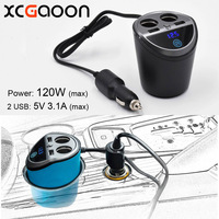 XCGaoon 2 Sockets Way With 2 USB Car Multi Functional Cigarette Lighter Splitter Power Adapter Car Charger for iPhone Mobile DVR