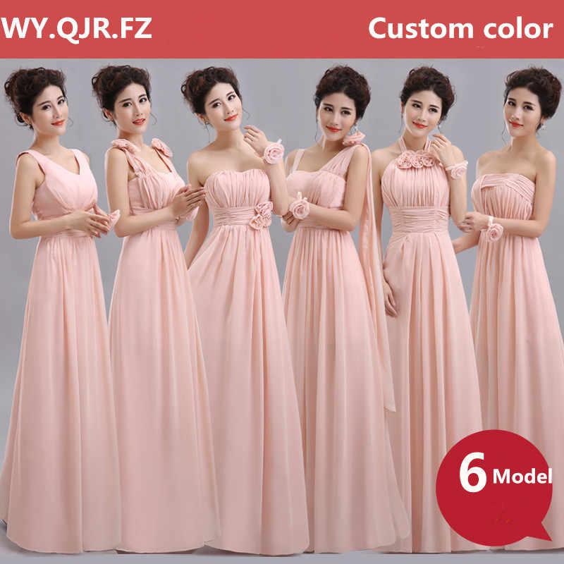 QNZL70F # Halter Leher Renda Up Chiffon Ungu Champagne Nude Pink Bridesmaid Gaun Panjang Grosir Pesta Pernikahan Gaun Gadis