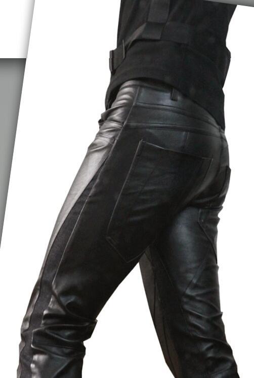 Envío Lápiz E Invierno De Moda Clásica Slim 2019 Pantalones Patchwork Gratis Denim Cuero Otoño Hombre 4rwqg4x