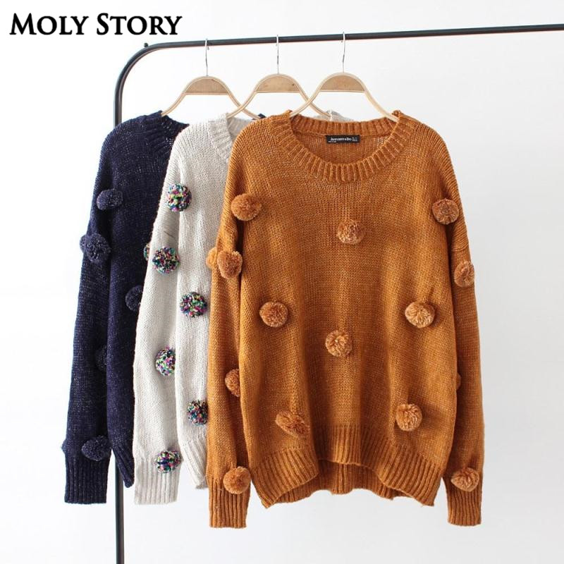 New Autumn Cute Pom Pom Sweaters Women O Neck Casual Loose Knitted Sweater Tops Outwear Pull Femme Jumper