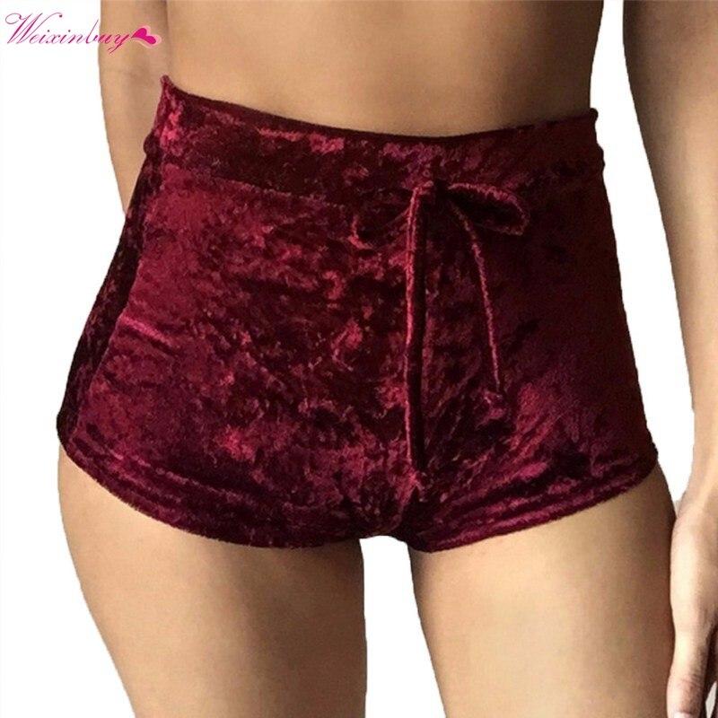 Female Casual High Waist Shorts Drawstring Short Pants Elegante Sexy Skinny Pants S-XL