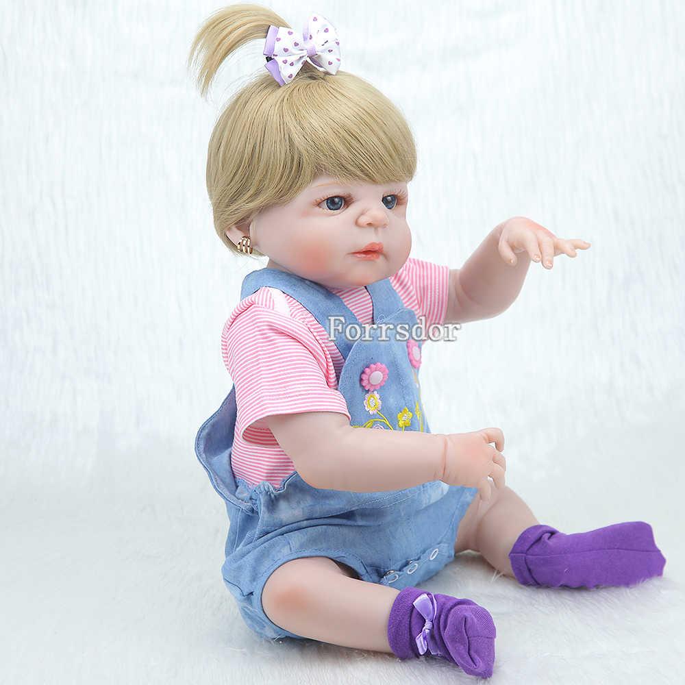 55 см силиконовая кукла для новорожденных, реалистичные игрушки для новорожденных принцесс, подарок для кукол, светлые волосы для малышей, bonecas