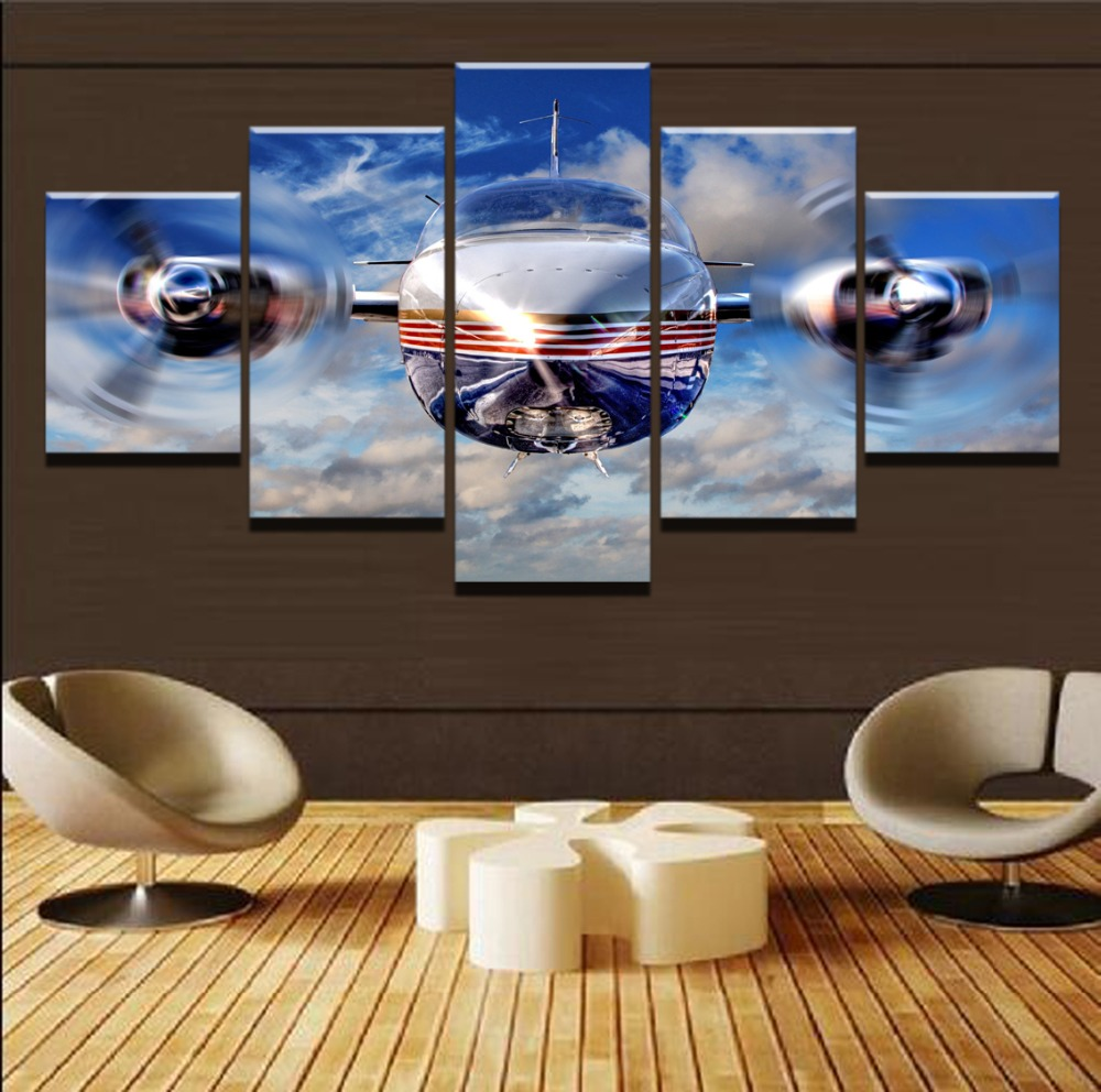 Canvas Painting Frame Wall Art Abstract Picture Living Room Decor 5 Pieces Modern HD Print Vintage Airplane High Quality Poster image