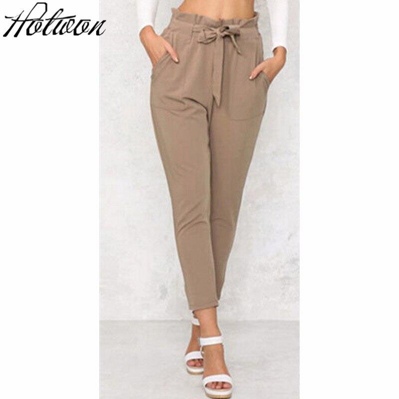 Women OL Chiffon High Waist Harem Pants Bow Tie Drawstring Sweet Elastic Waist Pockets Casual Trousers Pantalones