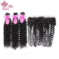 Queen Hair Products 100% Human Hair 3 Bundles with Lace Closure Brazilian Deep Wave Bundles with Frontal Closure Remy Hair 4pcs