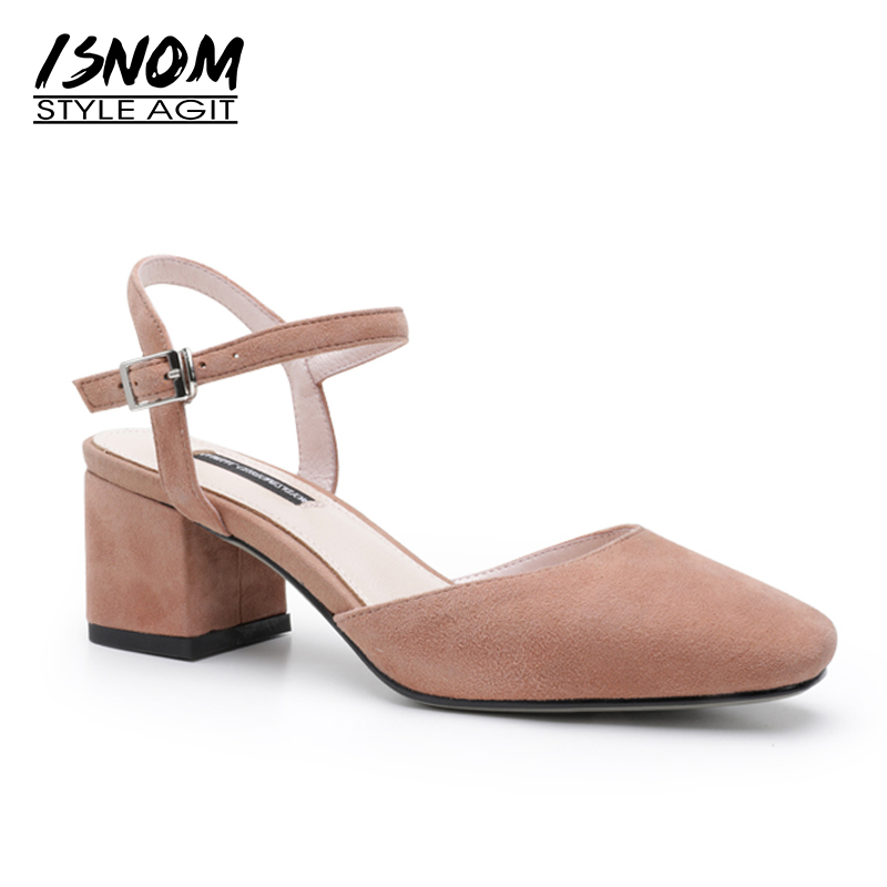 ISNOM High Heels Sandals Women Square Toe Thick Heels Kid Suede Footwear Fashion 2018 New Summer Rear Strap Office Female Shoes isnom summer high heels sandals women kid suede square heels buckle open toe back strap footwear office 2018 brand ladies shoes