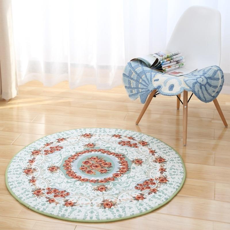 luxury europe jacquard carpet 80cm100cm diameter round area carpet parlor bedroom balcony chair rugs antiskid floor mats