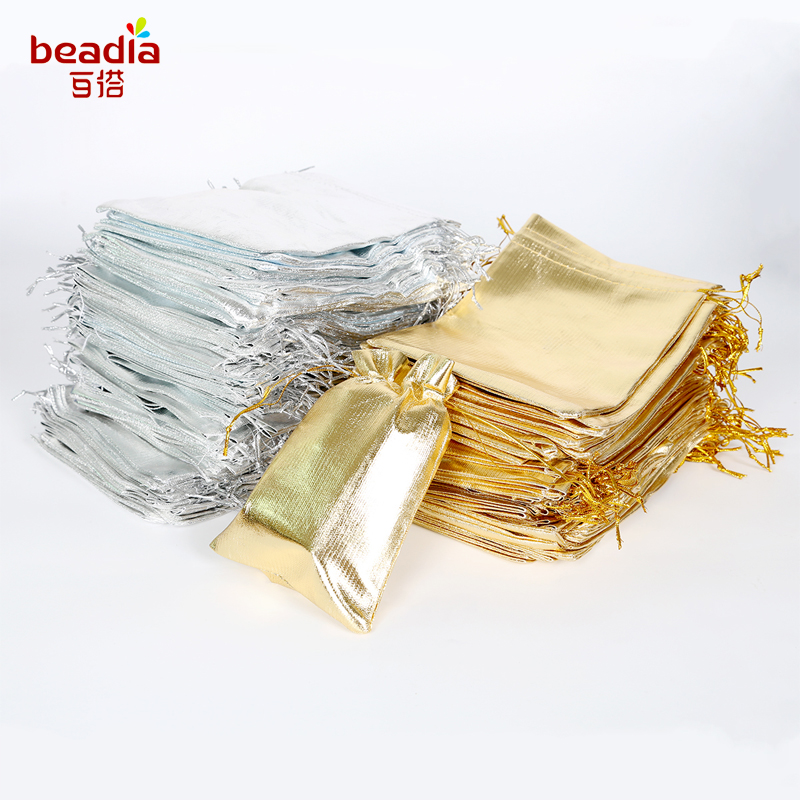 10pcs Silver Gold Color Metallic Foil Organza Pouches Christmas Wedding Party Favour Gifts Candy Bags 7x9/9x12/10x15/13x18cm