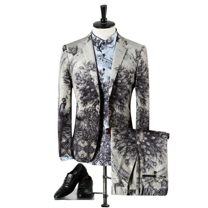 OSCN7 Peacock Print Slim Fit Suit Men Evening Party Leisure Notch Lapel Plus Size Suits For Men Prom (blazer+shirt+pants)