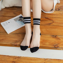 Fashion Women Casual Socks 1 Pair 2019 Girl Color Long Thin For Rainbow Breathable Transparent Korean Style