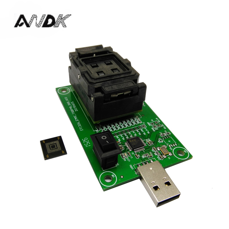 eMMC153/169 test socket with USB interface Reader size 12x18 Pitch 0.5mm for BGA169 BGA153 nand flash testing Clamshell new test seat turn the programmer bga socket 169 or 153 burning seat test fixture