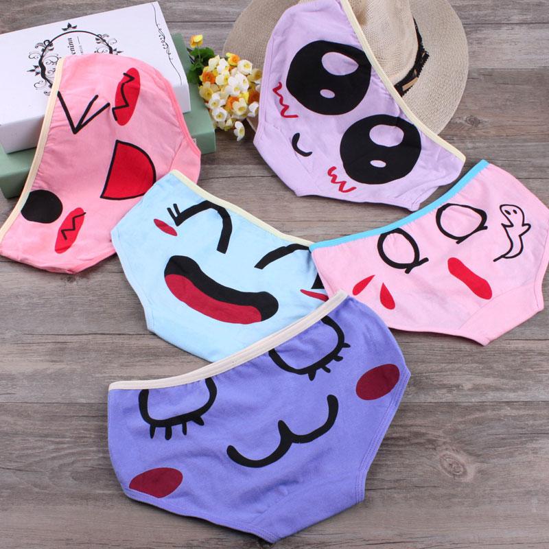 Buy Japanese sweet lovely girl panties cotton knickers waist hip fat adorable cartoon kawaii cuecas expression printing cute briefs