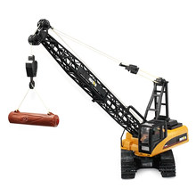 HUINA RC Car Toys 1572 15CH RC Alloy Crane Engineering Trucks RTR Movable Latticed Boom Hook Mechanical Sound RC Toy For Kids(China)