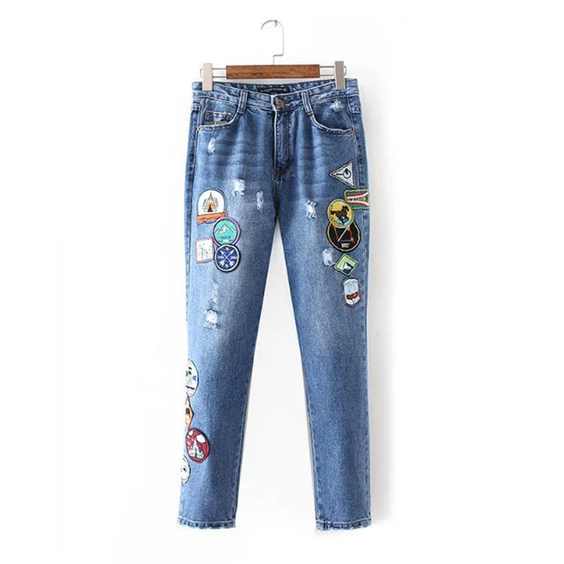 ФОТО Women High Waist Jeans Ripped Scratched Hole Embroidery Patch Designs Denim Pants Female Casual Trousers Pencil Pants