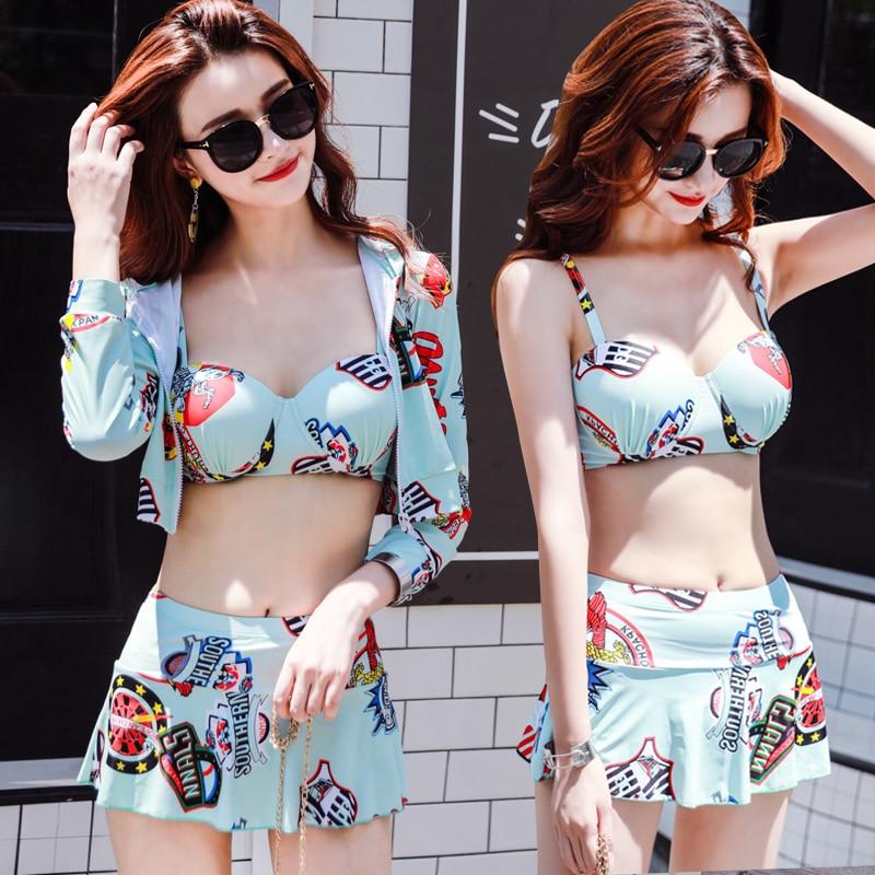 Summer Long-sleeved sunscreen shirt bikini Swimwear 2018 new Sexy Short skirts three piece swimsuit beach women bathing suits