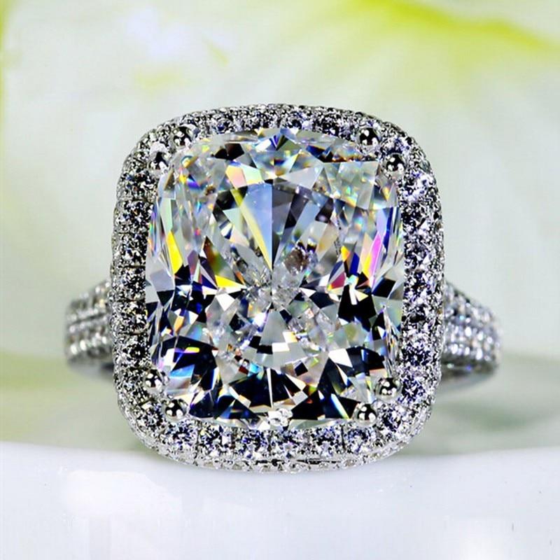 Big Jewelry Women ring cushion cut 10ct AAAAA zircon cz