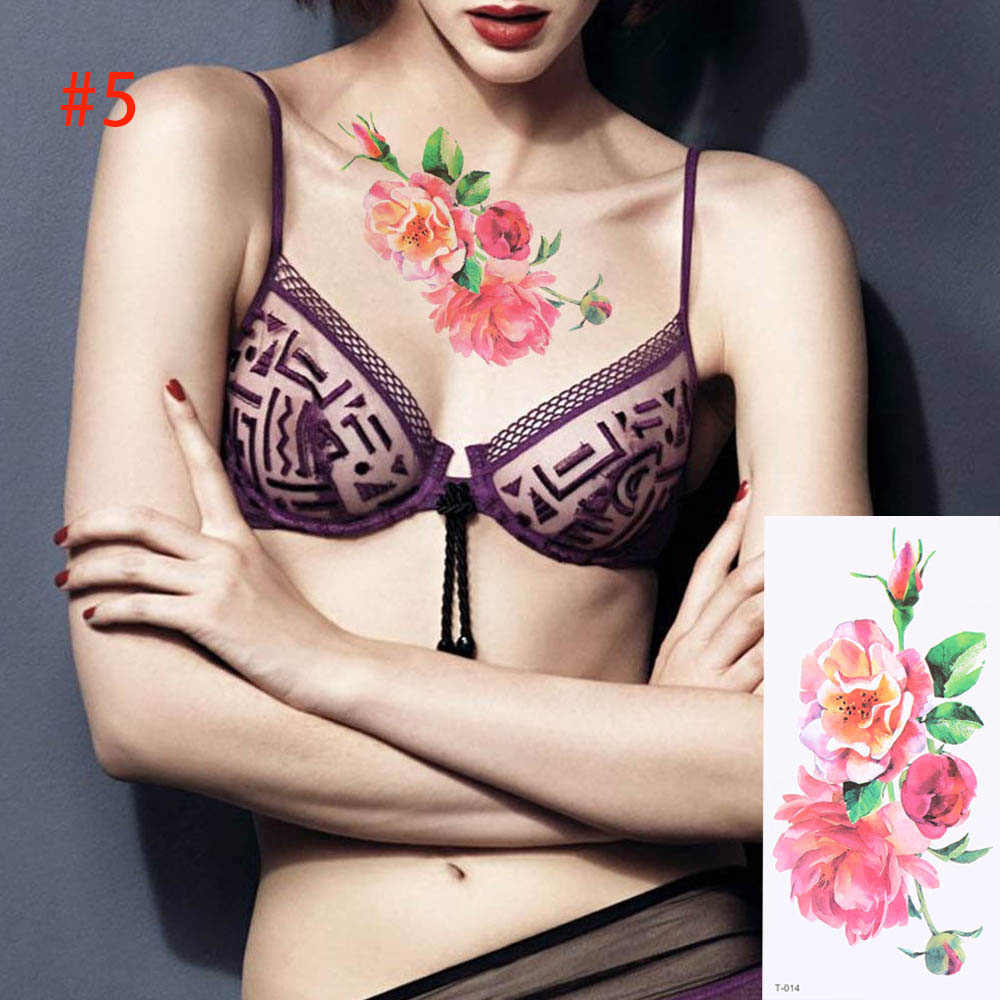 1PC 9X19cm 3D Flowers Temporary Tattoos Removable Women Waterproof Tattoo Stickers Beauty Body Painting Art Transfer Fake Tattoo